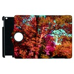 Abstract Fall Trees Saturated With Orange Pink And Turquoise Apple iPad 2 Flip 360 Case Front