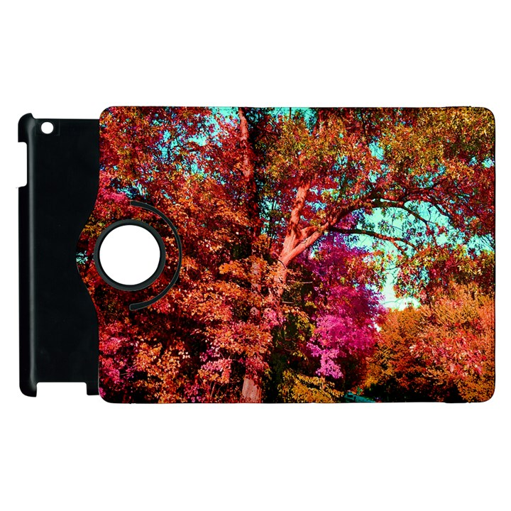 Abstract Fall Trees Saturated With Orange Pink And Turquoise Apple iPad 2 Flip 360 Case