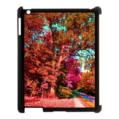 Abstract Fall Trees Saturated With Orange Pink And Turquoise Apple Ipad 3/4 Case (black) by Nexatart