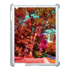 Abstract Fall Trees Saturated With Orange Pink And Turquoise Apple Ipad 3/4 Case (white) by Nexatart
