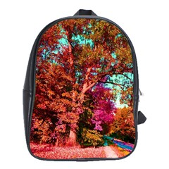 Abstract Fall Trees Saturated With Orange Pink And Turquoise School Bags (xl)  by Nexatart