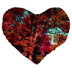 Abstract Fall Trees Saturated With Orange Pink And Turquoise Large 19  Premium Heart Shape Cushions