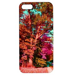 Abstract Fall Trees Saturated With Orange Pink And Turquoise Apple Iphone 5 Hardshell Case With Stand