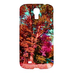 Abstract Fall Trees Saturated With Orange Pink And Turquoise Samsung Galaxy S4 I9500/i9505 Hardshell Case by Nexatart