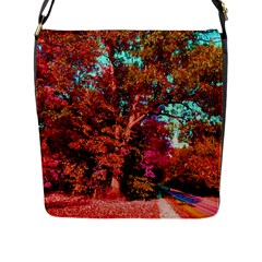 Abstract Fall Trees Saturated With Orange Pink And Turquoise Flap Messenger Bag (l)  by Nexatart