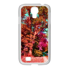 Abstract Fall Trees Saturated With Orange Pink And Turquoise Samsung Galaxy S4 I9500/ I9505 Case (white)