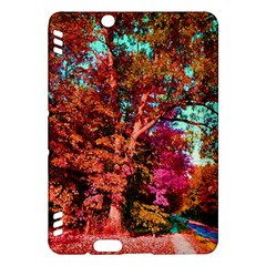 Abstract Fall Trees Saturated With Orange Pink And Turquoise Kindle Fire Hdx Hardshell Case by Nexatart
