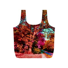 Abstract Fall Trees Saturated With Orange Pink And Turquoise Full Print Recycle Bags (s)