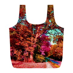 Abstract Fall Trees Saturated With Orange Pink And Turquoise Full Print Recycle Bags (l)