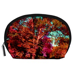 Abstract Fall Trees Saturated With Orange Pink And Turquoise Accessory Pouches (large)