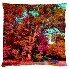 Abstract Fall Trees Saturated With Orange Pink And Turquoise Large Flano Cushion Case (two Sides) by Nexatart