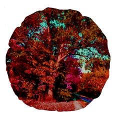 Abstract Fall Trees Saturated With Orange Pink And Turquoise Large 18  Premium Flano Round Cushions by Nexatart