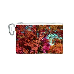 Abstract Fall Trees Saturated With Orange Pink And Turquoise Canvas Cosmetic Bag (s) by Nexatart