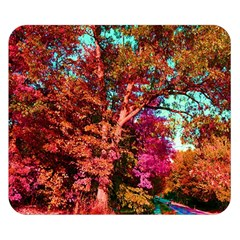 Abstract Fall Trees Saturated With Orange Pink And Turquoise Double Sided Flano Blanket (small)  by Nexatart