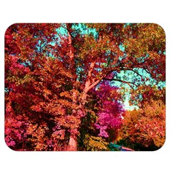 Abstract Fall Trees Saturated With Orange Pink And Turquoise Double Sided Flano Blanket (medium)  by Nexatart
