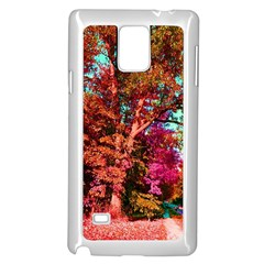 Abstract Fall Trees Saturated With Orange Pink And Turquoise Samsung Galaxy Note 4 Case (white) by Nexatart