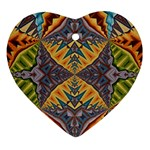 Kaleidoscopic Pattern Colorful Kaleidoscopic Pattern With Fabric Texture Ornament (Heart) Front