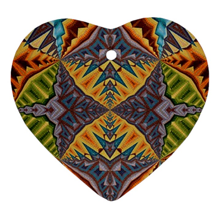 Kaleidoscopic Pattern Colorful Kaleidoscopic Pattern With Fabric Texture Ornament (Heart)
