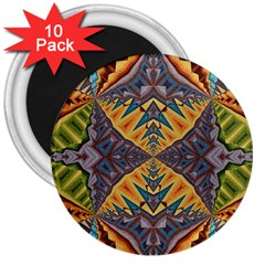 Kaleidoscopic Pattern Colorful Kaleidoscopic Pattern With Fabric Texture 3  Magnets (10 pack)  by Nexatart