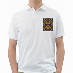 Kaleidoscopic Pattern Colorful Kaleidoscopic Pattern With Fabric Texture Golf Shirts