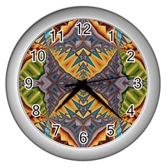 Kaleidoscopic Pattern Colorful Kaleidoscopic Pattern With Fabric Texture Wall Clocks (silver)  by Nexatart