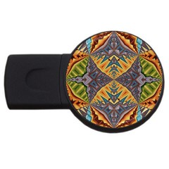 Kaleidoscopic Pattern Colorful Kaleidoscopic Pattern With Fabric Texture Usb Flash Drive Round (2 Gb) by Nexatart