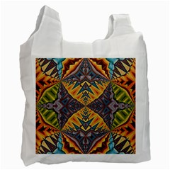 Kaleidoscopic Pattern Colorful Kaleidoscopic Pattern With Fabric Texture Recycle Bag (one Side) by Nexatart