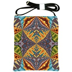 Kaleidoscopic Pattern Colorful Kaleidoscopic Pattern With Fabric Texture Shoulder Sling Bags by Nexatart