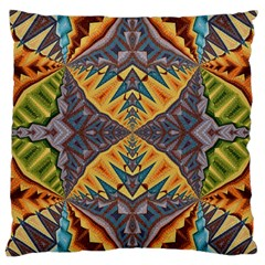 Kaleidoscopic Pattern Colorful Kaleidoscopic Pattern With Fabric Texture Large Cushion Case (one Side) by Nexatart