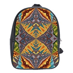 Kaleidoscopic Pattern Colorful Kaleidoscopic Pattern With Fabric Texture School Bags (XL)  by Nexatart