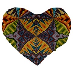 Kaleidoscopic Pattern Colorful Kaleidoscopic Pattern With Fabric Texture Large 19  Premium Heart Shape Cushions by Nexatart