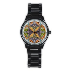 Kaleidoscopic Pattern Colorful Kaleidoscopic Pattern With Fabric Texture Stainless Steel Round Watch by Nexatart