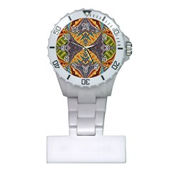 Kaleidoscopic Pattern Colorful Kaleidoscopic Pattern With Fabric Texture Plastic Nurses Watch