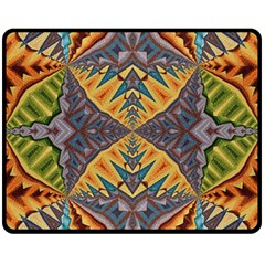 Kaleidoscopic Pattern Colorful Kaleidoscopic Pattern With Fabric Texture Double Sided Fleece Blanket (medium)