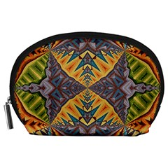 Kaleidoscopic Pattern Colorful Kaleidoscopic Pattern With Fabric Texture Accessory Pouches (large)