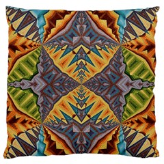 Kaleidoscopic Pattern Colorful Kaleidoscopic Pattern With Fabric Texture Large Flano Cushion Case (one Side) by Nexatart