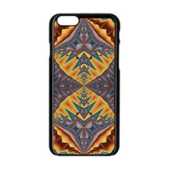 Kaleidoscopic Pattern Colorful Kaleidoscopic Pattern With Fabric Texture Apple Iphone 6/6s Black Enamel Case