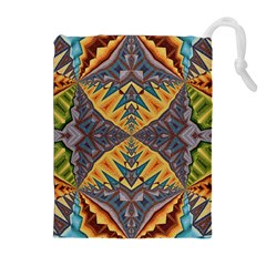 Kaleidoscopic Pattern Colorful Kaleidoscopic Pattern With Fabric Texture Drawstring Pouches (extra Large)