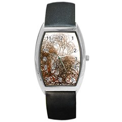 Digitally Painted Colourful Winter Branches Illustration Barrel Style Metal Watch