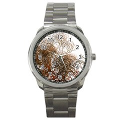 Digitally Painted Colourful Winter Branches Illustration Sport Metal Watch