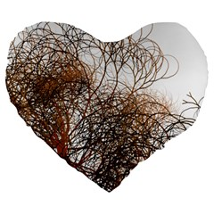 Digitally Painted Colourful Winter Branches Illustration Large 19  Premium Heart Shape Cushions