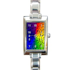 A Creative Colorful Background Rectangle Italian Charm Watch by Nexatart