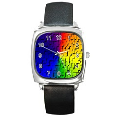 A Creative Colorful Background Square Metal Watch by Nexatart