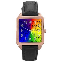 A Creative Colorful Background Rose Gold Leather Watch  by Nexatart