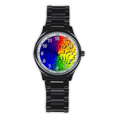 A Creative Colorful Background Stainless Steel Round Watch by Nexatart