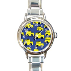 A Fun Cartoon Taxi Cab Tiling Pattern Round Italian Charm Watch by Nexatart