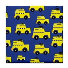 A Fun Cartoon Taxi Cab Tiling Pattern Tile Coasters