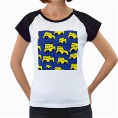 A Fun Cartoon Taxi Cab Tiling Pattern Women s Cap Sleeve T