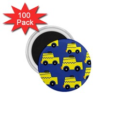 A Fun Cartoon Taxi Cab Tiling Pattern 1 75  Magnets (100 Pack)  by Nexatart