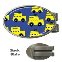 A Fun Cartoon Taxi Cab Tiling Pattern Money Clips (oval)
